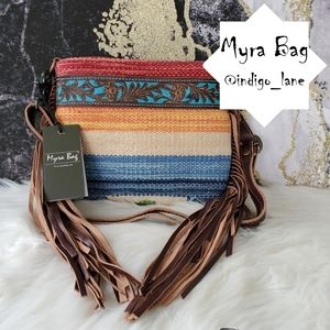 """💙 Myra """"Etched Rainbow""""  Leather Hand Tooled Bag"""